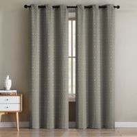 Sarah Jacquard 84-Inch Grommet Window Curtain Panel Pair in Grey
