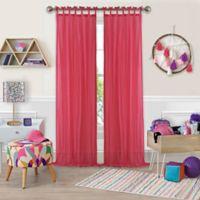 Greta Crushed Sheer 95-Inch Tie Top Window Curtain Panel in Pink