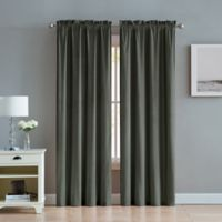 Velvet 95-Inch Rod Pocket Window Curtain Panel Pair in Charcoal