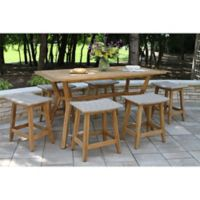Outdoor Interiors® 7-Piece Nautical Counter Height Dining Set in Teak/Grey