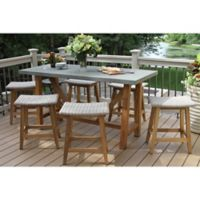 Outdoor Interiors® 7-Piece Teak Composite Counter Height Dining Set with Saddle Stools