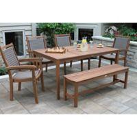 Outdoor Interiors® 6-Piece Eucalyptus Dining Set in Brown