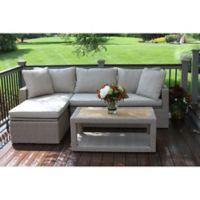 Outdoor Interiors Ash Wicker 3-Piece Sofa Chaise Set in Teak/Grey