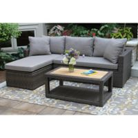 Outdoor Interiors Ash Wicker 3-Piece Sofa Chaise Set in Teak/Brown