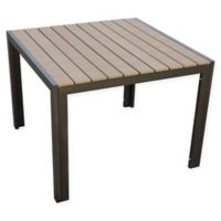 Summerwinds 40-Inch Square All-Weather Steel Dining Table in Walnut
