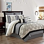 Carter 12-Piece Embroidered Queen Comforter Set in Black/White