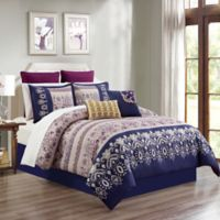 Skylar 12-Piece King Comforter Set in Blue/Magenta