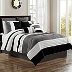 Logan 12-Piece Queen Comforter Set in Black/White
