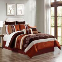 Mason 12-Piece Embroidered Paisley Queen Comforter Set in Orange/Brown