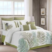 Aleena 12-Piece King Comforter Set in Ivory/Green