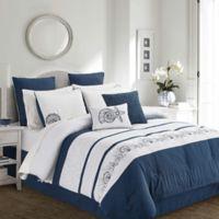 Brishon 12-Piece King Comforter Set in Navy/White
