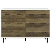 Forest Gate 52-Inch 6-Drawer Dresser in White/Rustic Oak