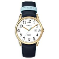Timex® Easy Reader Ladies' 38mm Watch in Goldtone with Blue Leather Strap