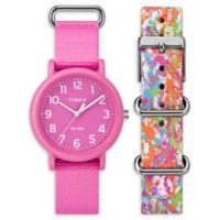Timex® Weekender Color Rush Ladies' 34mm Watch Set with Pink and Painted Nylon Straps