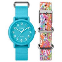 Timex® Weekender Color Rush Ladies' 34mm Watch Set with Blue and Painted Nylon Straps