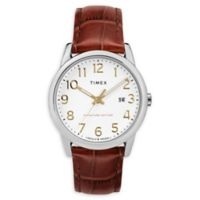 Timex® Easy Reader® Signature Men's 38mm Watch with Brown Leather Strap