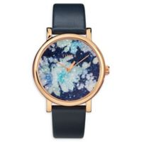 Timex® Crystal Bloom Ladies' 38mm Watch in Rose Goldtone with Blue Leather Strap