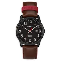 Timex® Easy Reader® Men's 38mm Watch in Black Brass with Brown Leather Strap