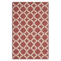 Modway Moroccan Trellis 5' x 8' Flat-Weave Indoor/Outdoor Area Rug in Red/Beige