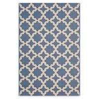 Modway Moroccan Trellis 5' x 8' Flat-Weave Indoor/Outdoor Area Rug in Blue/Beige