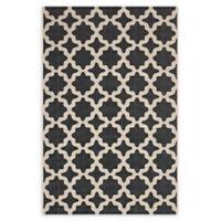 Modway Moroccan Trellis 8' x 10' Flat-Weave Indoor/Outdoor Area Rug in Black/Beige