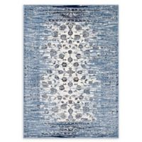 Modway Distressed Floral Lattice 8' x 10' Area Rug in Blue/Ivory