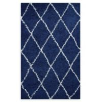 Modway Toryn Diamond Lattice 5' x 8' Shag Area Rug in Navy/Ivory