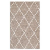 Modway Toryn Diamond Lattice 8' x 10' Shag Area Rug in Beige/Ivory
