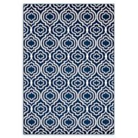 Modway Frame Transitional Trellis 5' x 8' Area Rug in Blue/Ivory