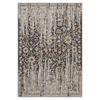 Modway Distressed Diamond Floral Lattice 5' x 8' Area Rug in Black/Beige