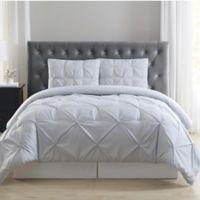 Truly Soft Everyday Stripe Pleat 3-Piece King Duvet Set in Grey