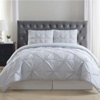 Truly Soft Everyday Gingham Pleat 3-Piece King Duvet Set in Grey