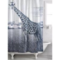 Nairobi Giraffe Shower Curtain in White/Black