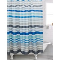 Famous HomeR Hip Stripe Shower Curtain In Blue
