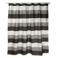 Ambrosi Striped Shower Curtain in Black/White