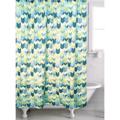 Braxton Geometric Shower Curtain In Teal Green