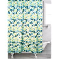 Braxton Geometric Shower Curtain in Teal/Green