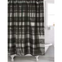 Twilight Striped Shower Curtain In Black Silver
