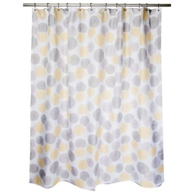 focus medallion shower curtain in yellowtaupe - Colorful Shower Curtains