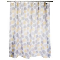 Focus Medallion Shower Curtain In Yellow Taupe