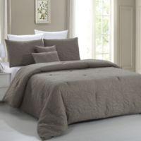 Pacific Coast Textiles Nottingham Leaf 5-Piece King Comforter Set in Mocha