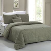 Pacific Coast Textiles Nottingham Leaf 5-Piece King Comforter Set in Olive