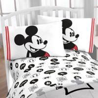 Mickey Jersey Classic Twin Sheet Set in Black/White