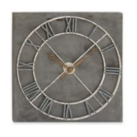 Ridge Road Décor Square Analog Wall Clock in Dark Grey