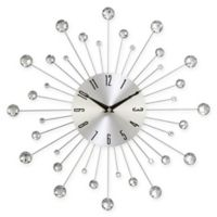 Ridge Road Décor Beaded Burst Wall Clock in Silver