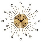 Ridge Road Décor Beaded Burst Wall Clock in Gold