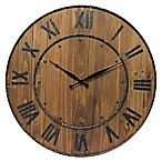 Infinity Instruments 23-Inch Wine Barrel Wall Clock in Brown
