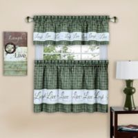 "Achim ""Live, Love, Laugh"" 36-Inch Window Curtain Tier Pair in Green"