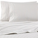 The Seasons Collection® HomeGrown™ Queen Flannel Sheet Set in Taupe Stripe