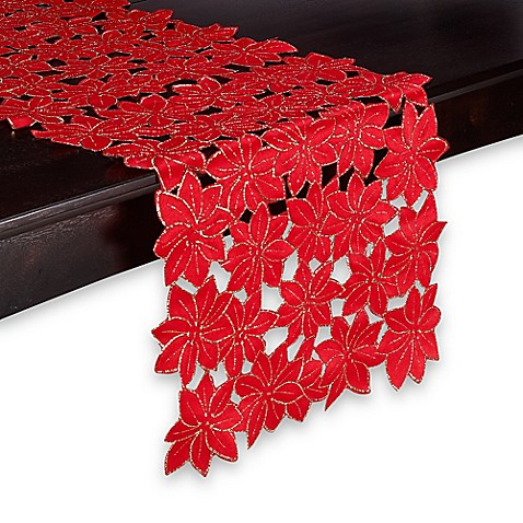 Buy Sam Hedaya Poinsettia Cluster 52 Inch Table Runner